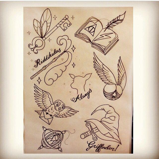 Spectacular Harry potter tattoo flash