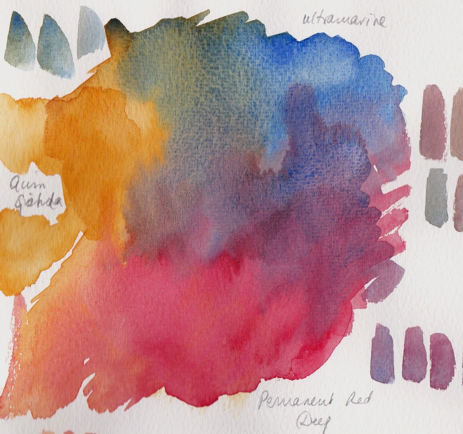 Just Three Colours Watercolor Art Watercolor Painting