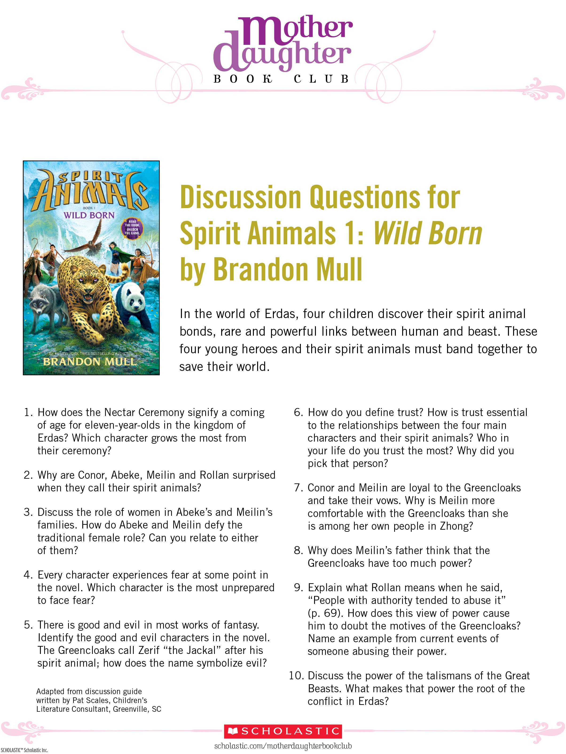 Discussion Questions For Spirit Animals Wild Born By