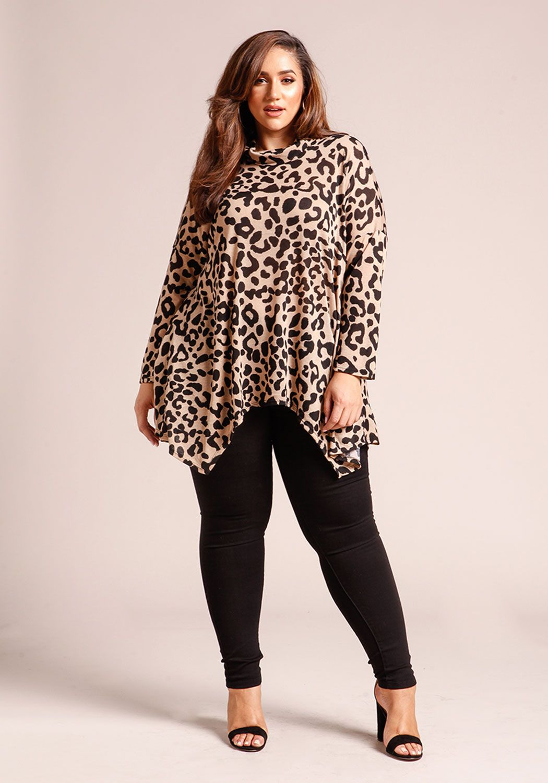 b958f4526b060 Plus Size Animal Print Long Sleeve Shark Bite Sweater Top