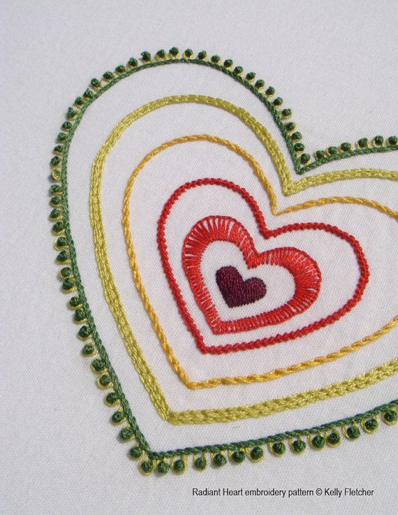 Radiant Heart Hand Embroidery Pattern By Kfneedleworkdesign Things