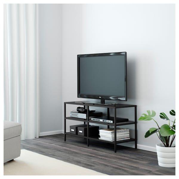Vittsjo Banc Tv Brun Noir Verre 100x36x53 Cm Meuble Ikea Et Mobilier De Salon