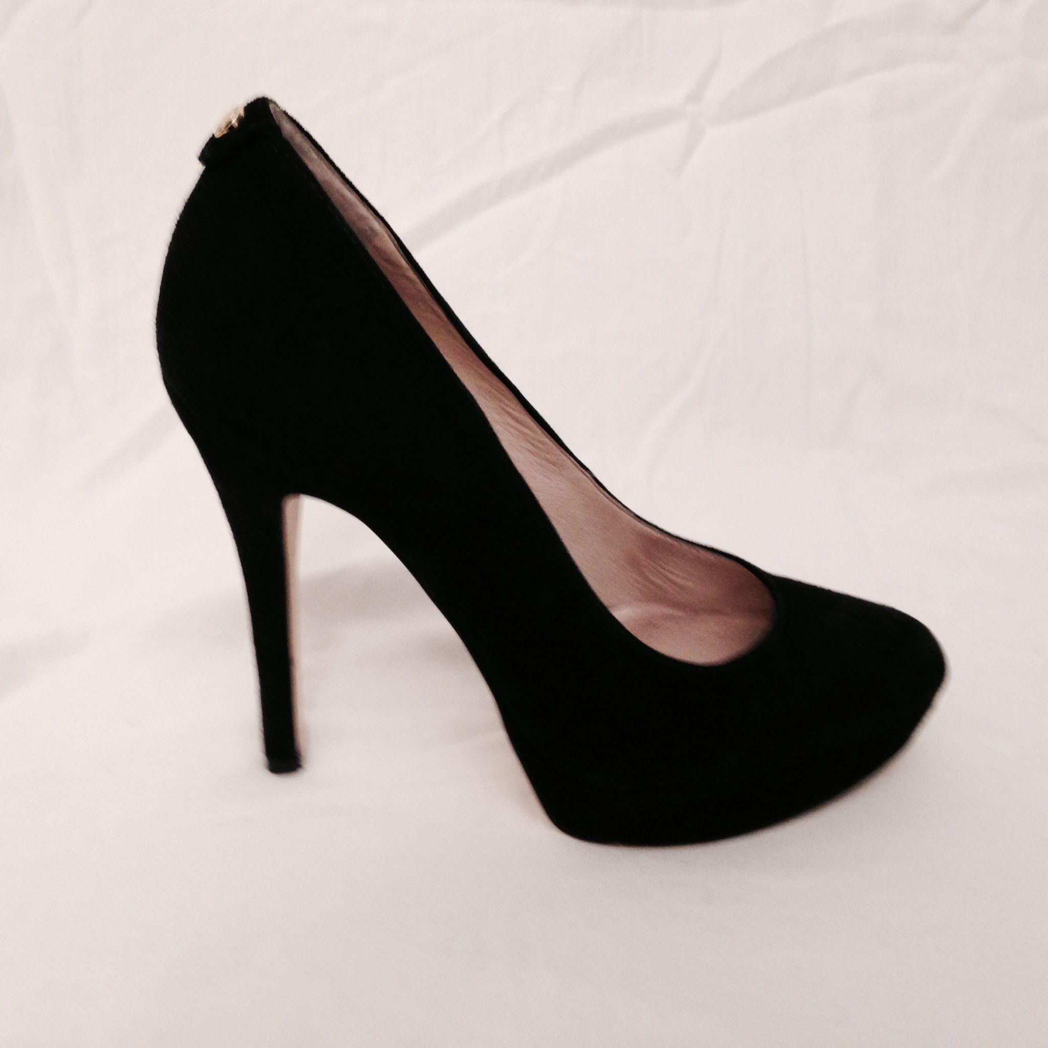 Michael KORS Platform Black Suede Heels — Refashionista Boutique