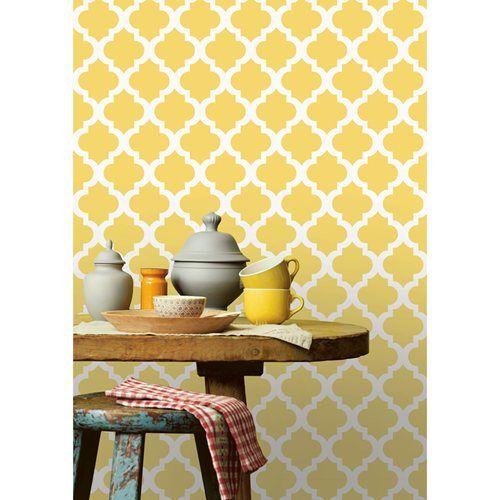 Papel de parede arabesque amarelo can rio leroy merlin let 39 s go home pinterest pop art - Papel pared leroy ...