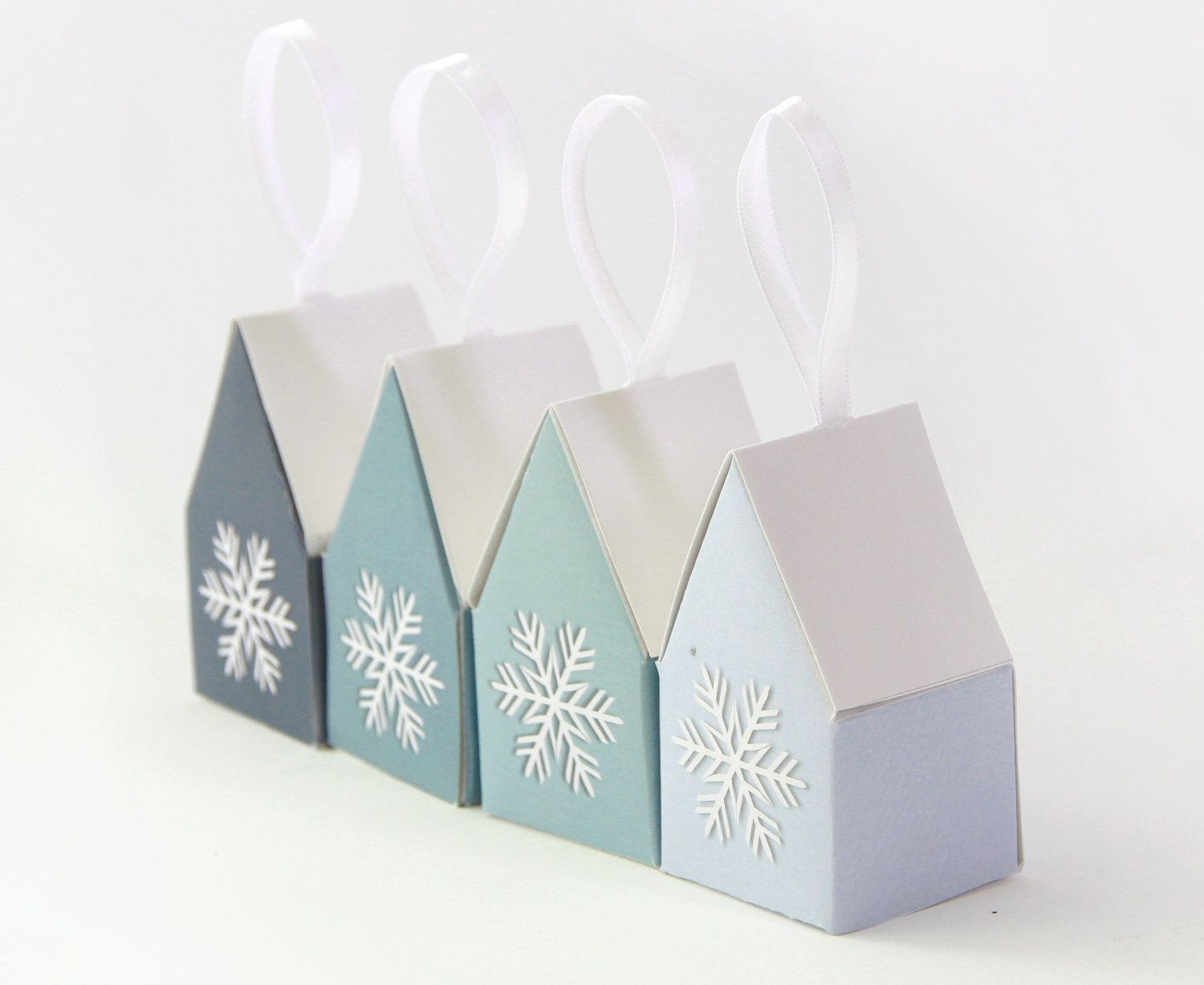 Snowflake House Christmas Decoration Favor Boxes, Printable DIY ...