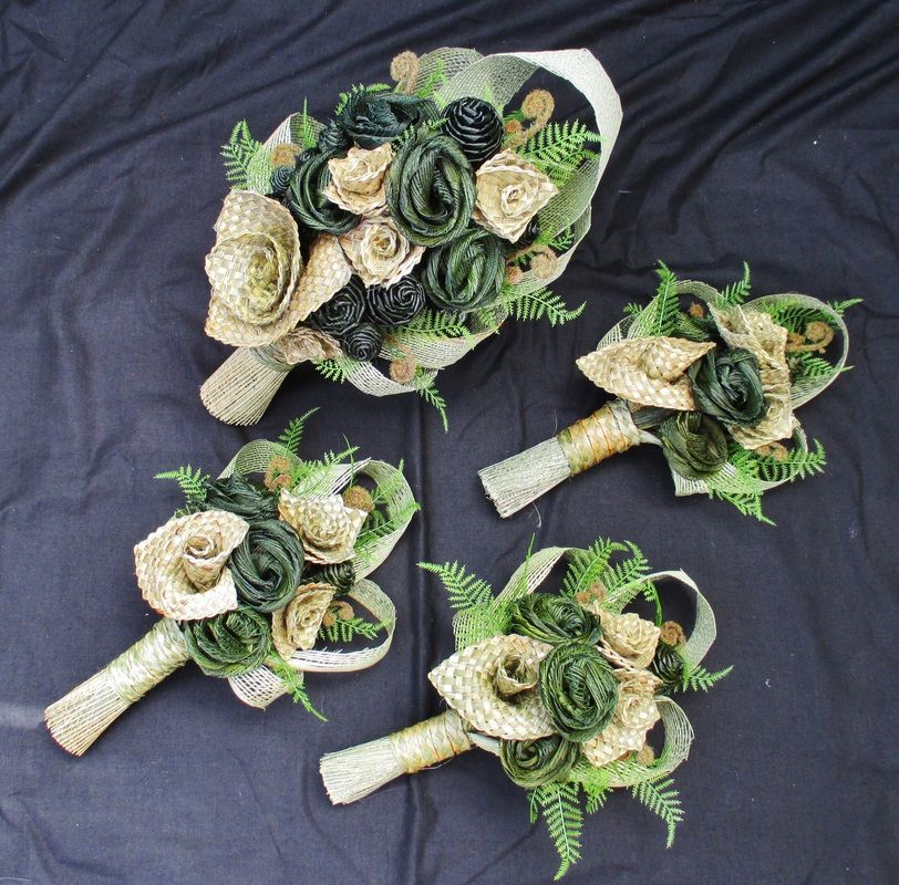Bridal Bouquets - Fabulous Flax Very kiwi woven flax flowers, fern ...