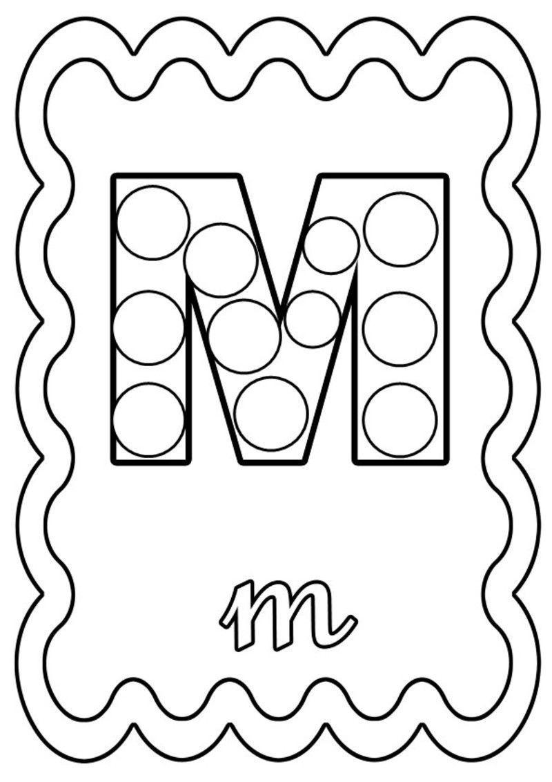 Coloriage Lettre M à colorier ou à gommettes.   Coloriage ...
