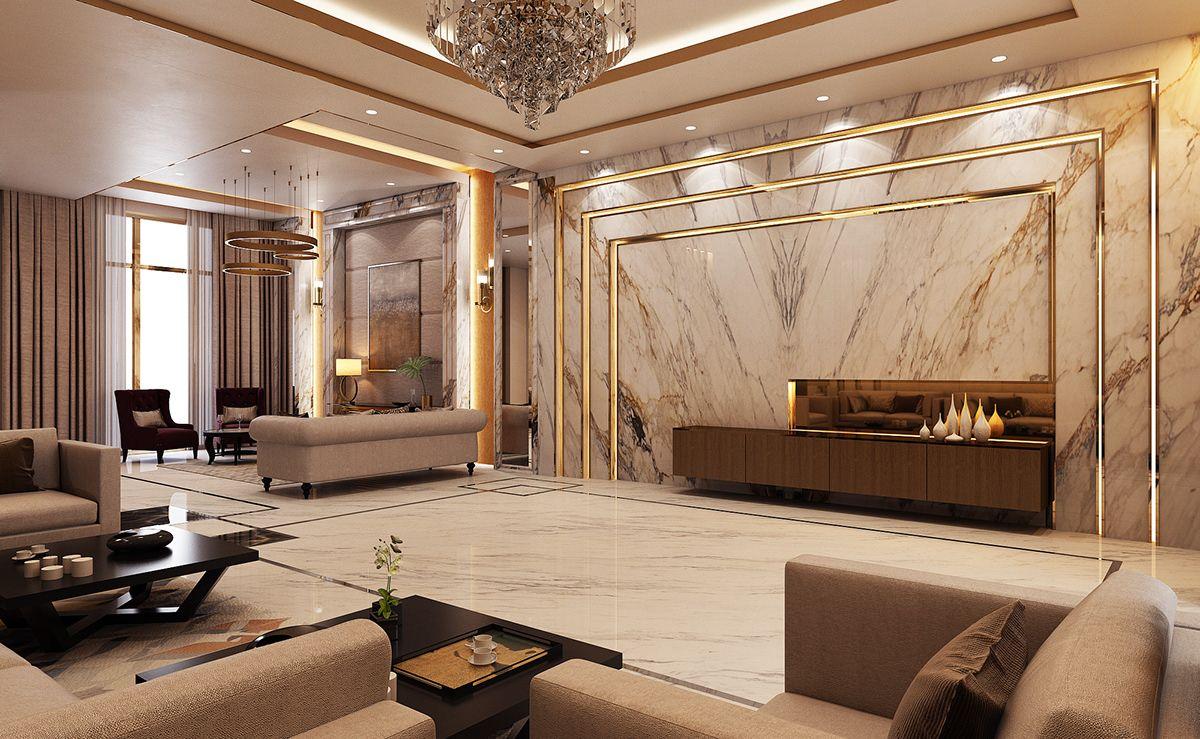 Luxury Modern Villa Qatar On Behance Luxury Living Room Design