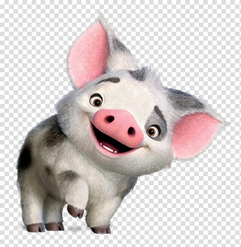 Gray And Black Piglet Hei Hei The Rooster Animation Film Moana Island Life Animation Transparent Back Brown Bear Illustration Pig Illustration Animation Film