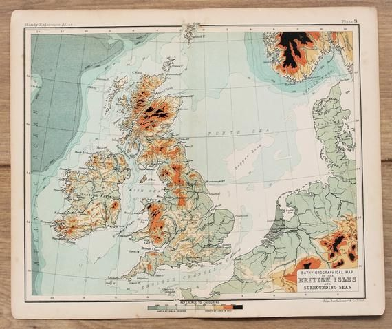British Isles Bathy-Orographical Map, Comparative Heights, Antique Map c.1900, Small Folding Colour #britishisles