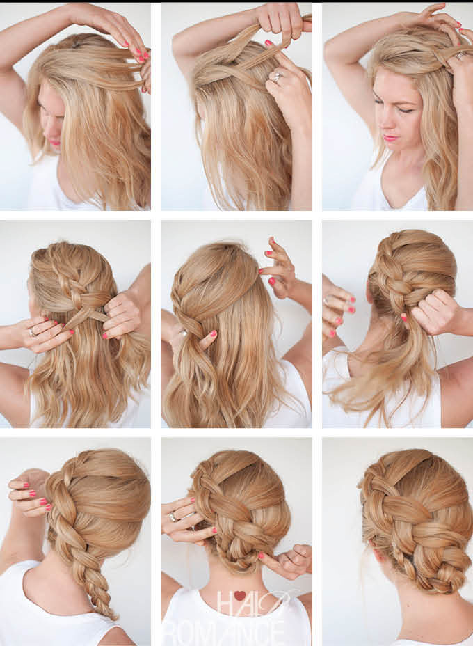 how to make a french braid | How to make twist braid updo ...
