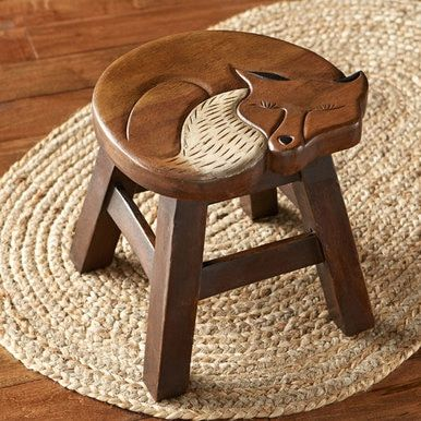 Photo of Carved Wood Fox Stool