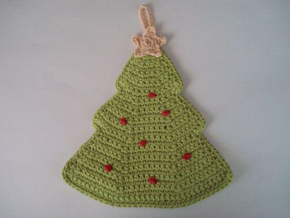 Christmas Tree Pot Holder Crocheted In Hot Green By Applesandholly Christmas Crochet Crochet Patterns Diy Crochet