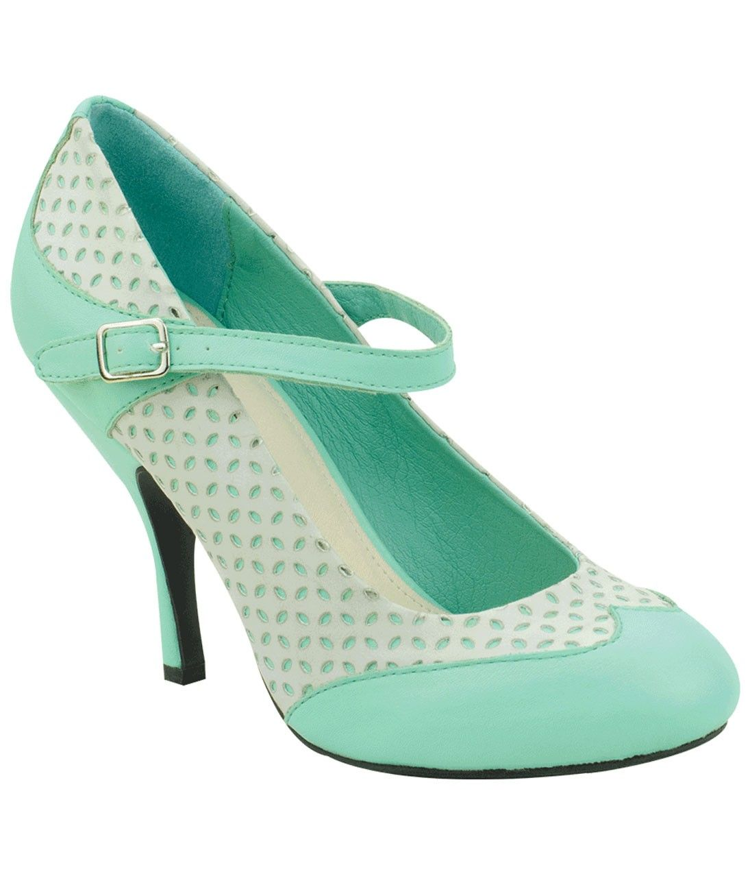 Mint & White Closed Toe Bombshell Mary Jane Pumps | Unique Vintage