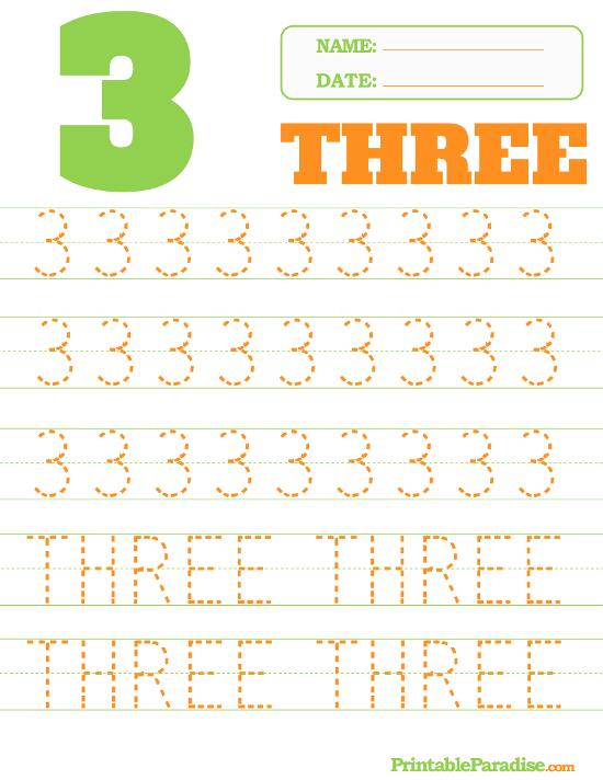 Printable Number 3 Tracing Worksheet Number Tracing Worksheets