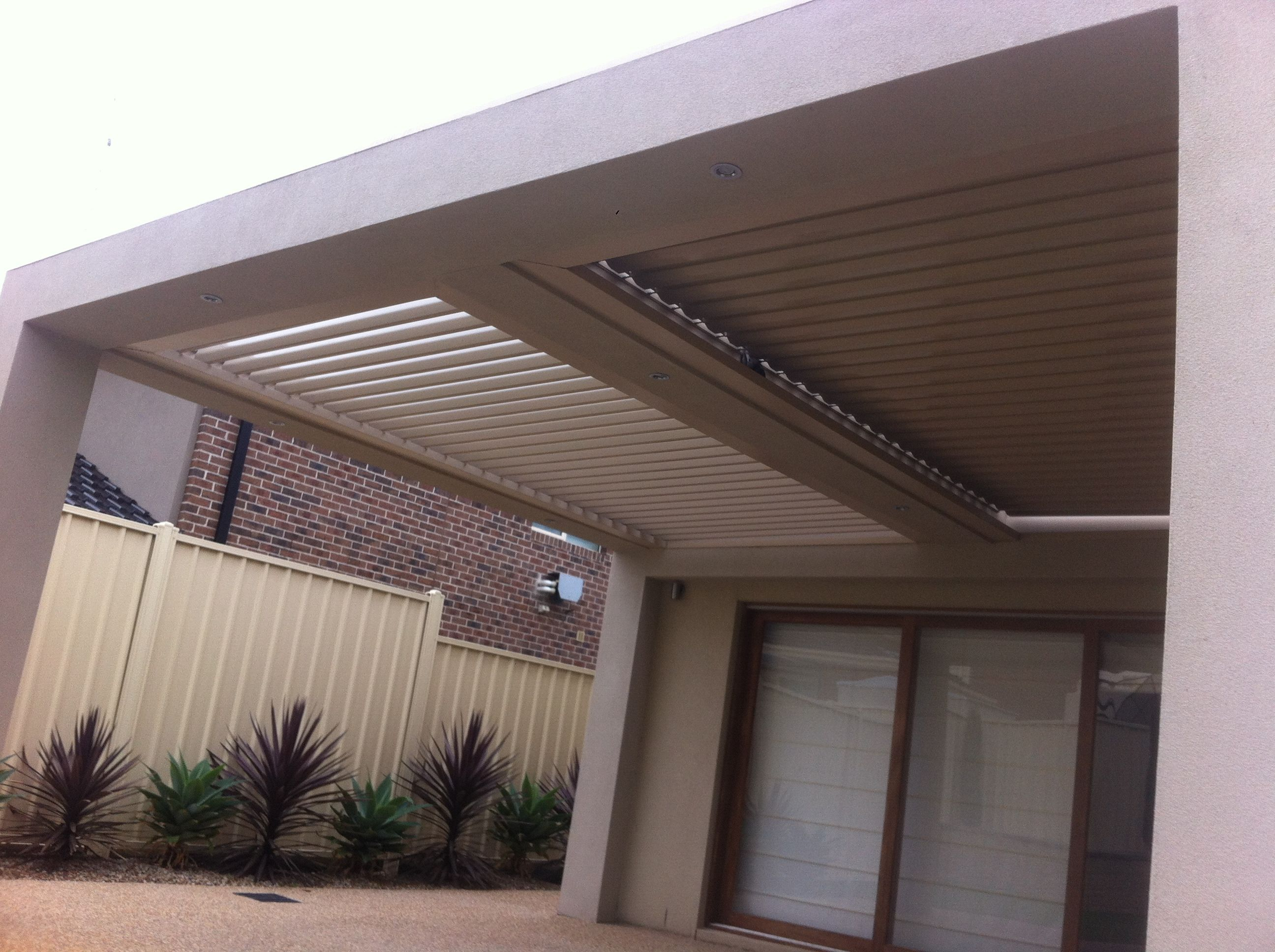 A Rendered Louver Project Including Two Bays Which Allows Flexibility To Open One Or Both Plus Lights In Middle Of Veranda Outdoor Design Outdoor Outdoor Range
