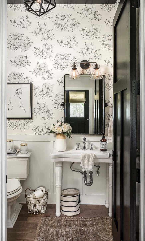 Gorgeous modern farmhouse style home in Illinois delights the senses #modernpowderrooms
