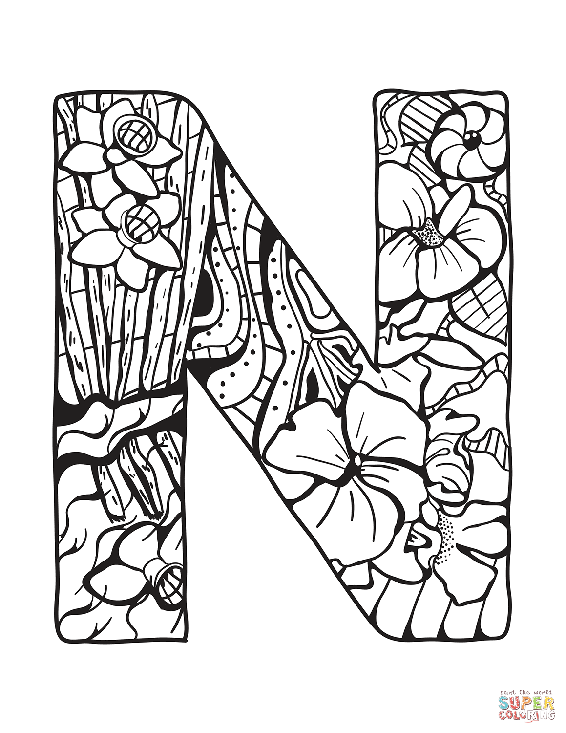 Letter N Zentangle Coloring Page