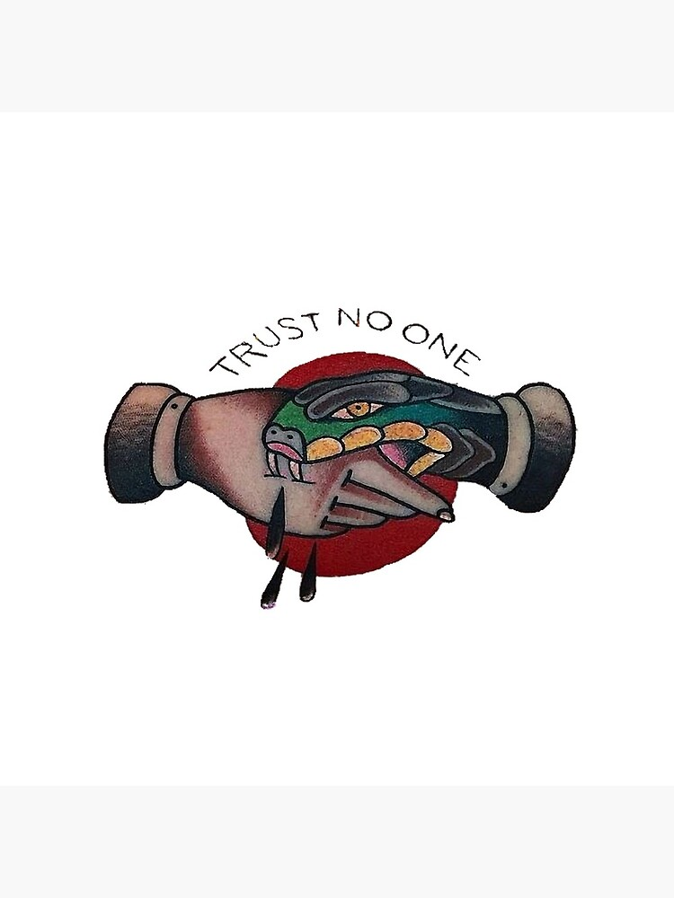'Trust No One Old School Tattoo - Snake Hand Shake-Trust No One Covid mask' Tote Bag by Glyn123