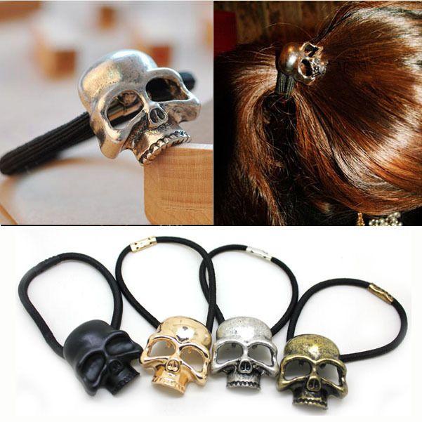 Retro Punk Gothic Metal Skull Hair Tie Fashion Birds Crow Skull Elastic Hair Bands Hair Accessories Jewelry Metal Skull Hair Band Accessories Hair Tie Jewelry