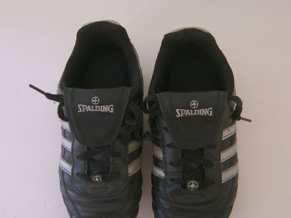 Spalding Soccer Cleats Size 3 Youth Black Silver UK 2.5