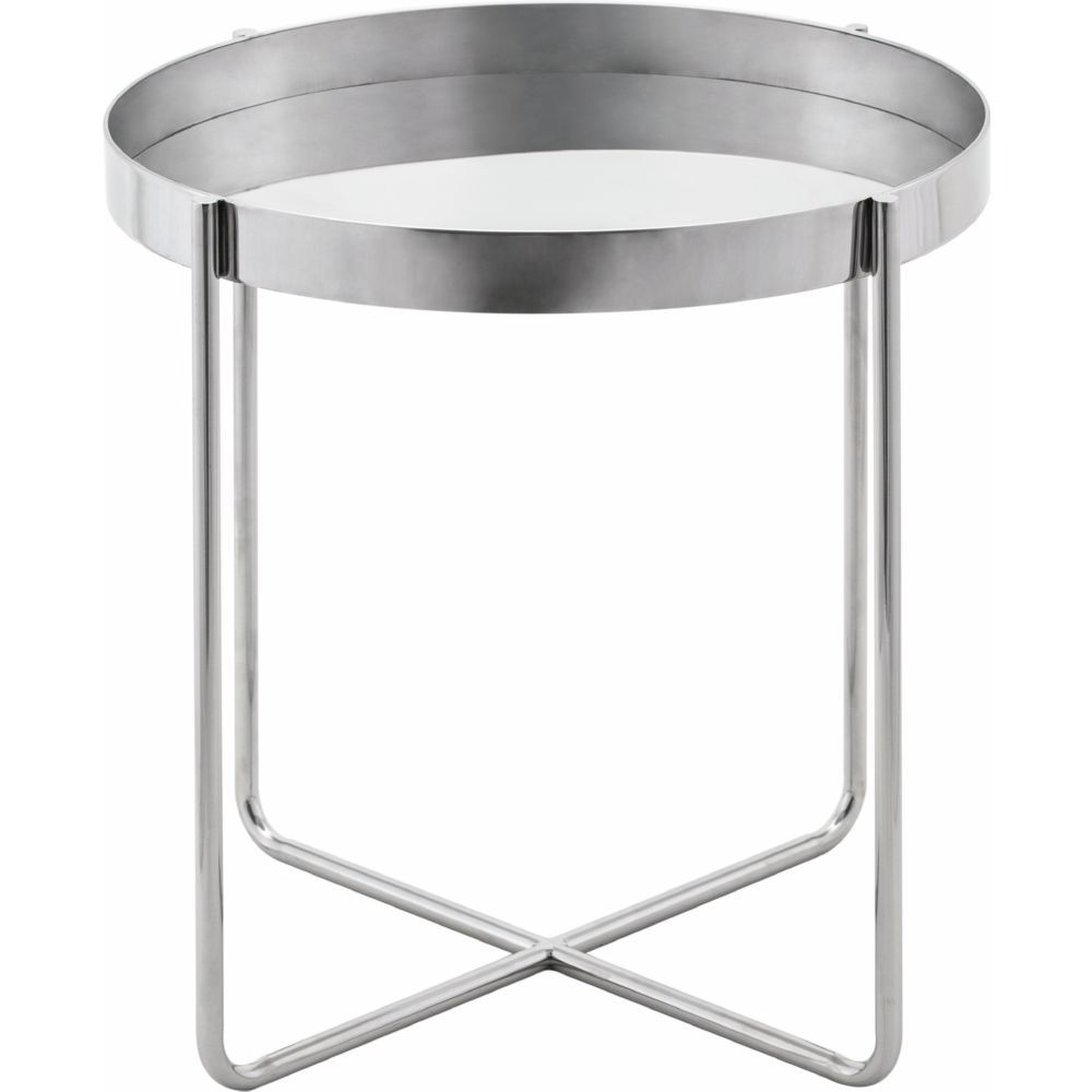 Nuevo Gaultier Round Tray Style Side Table Silver Polished