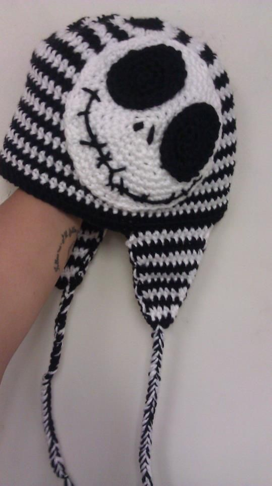 f0169ec39fc40 Adult Jack Skellington Nightmare Before Christmas crochet hat with braids.  Description from pinterest.com. I searched for this on bing.com images
