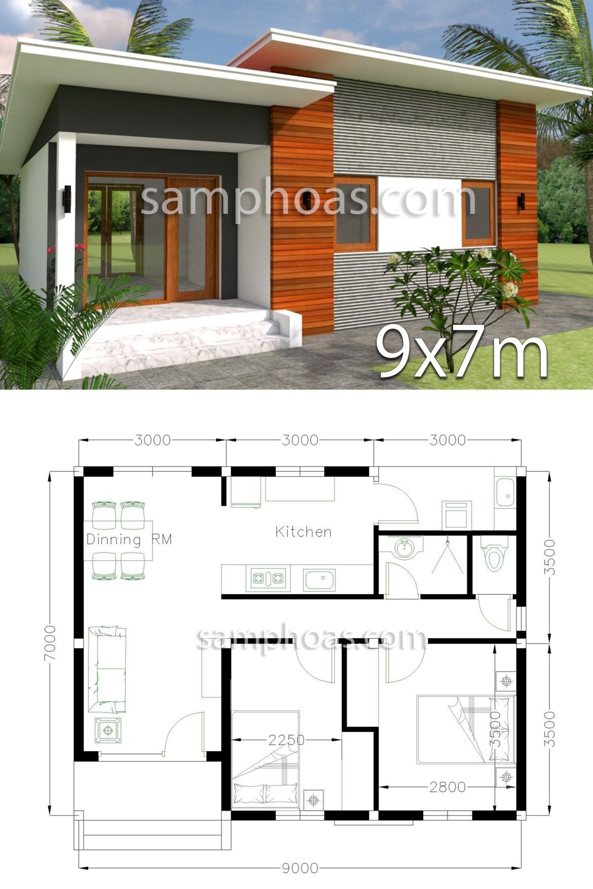 Plan 3d Home Design 9x7m 2 Bedrooms Samphoas Plansearch House Designs Exterior Small House Design Modern House Plans