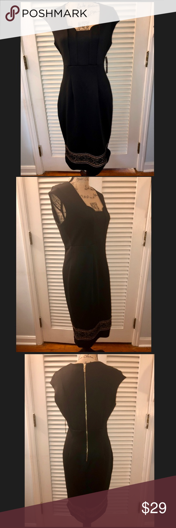 Nwt Ny Co Black Dress With Gold Lace Trim Nwt Black Dress Black Dresses Classy Dresses