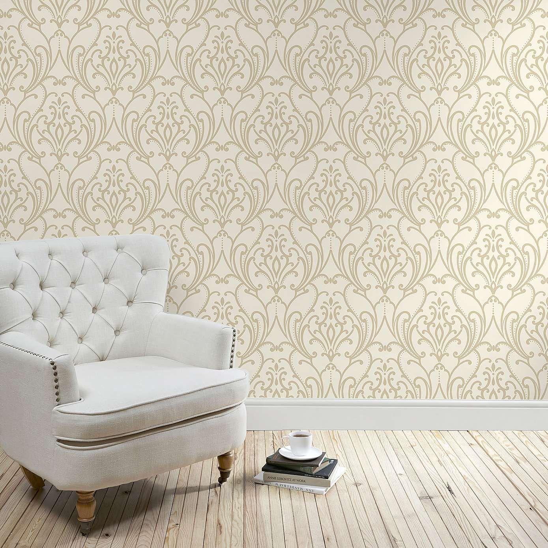 Natural Scroll Damask Wallpaper Dunelm Lounge Pinterest