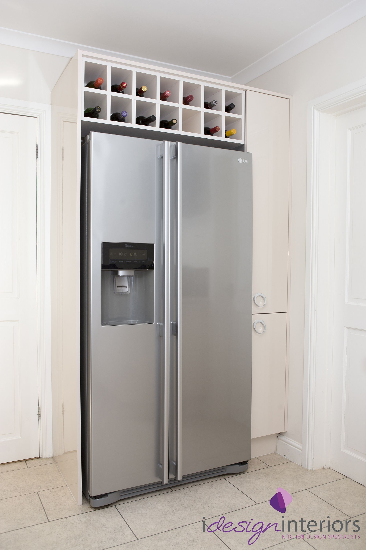 American style fridge freezer with surrounding gloss cream