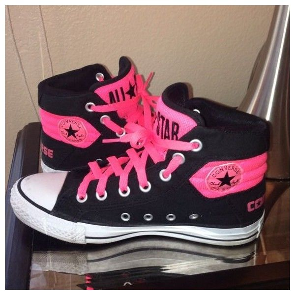 Neon pink and black converse chuck