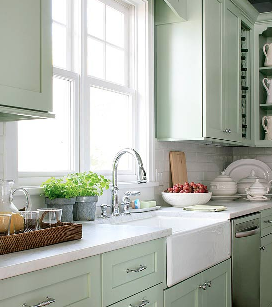 Country Kitchen Green Cabinets: Benjamin Moore Oyster Shell