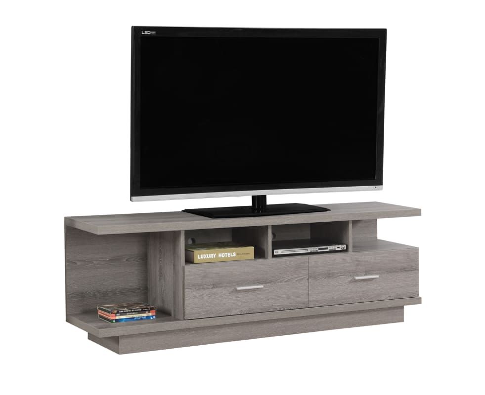 Monarch Specialties I 2675 60 Inch X 15 Inch Wood Tv Stand Dark