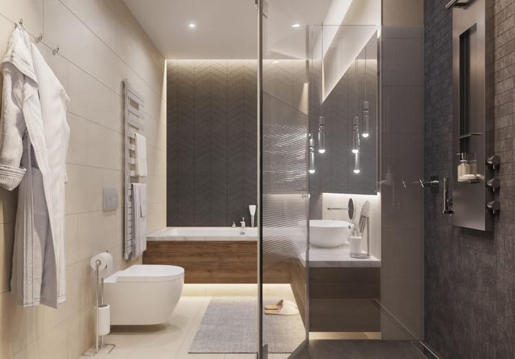 Badezimmer Badewanne Dusche Beige Anthrazit #interiordesign #decoration  #pastel #green #relax