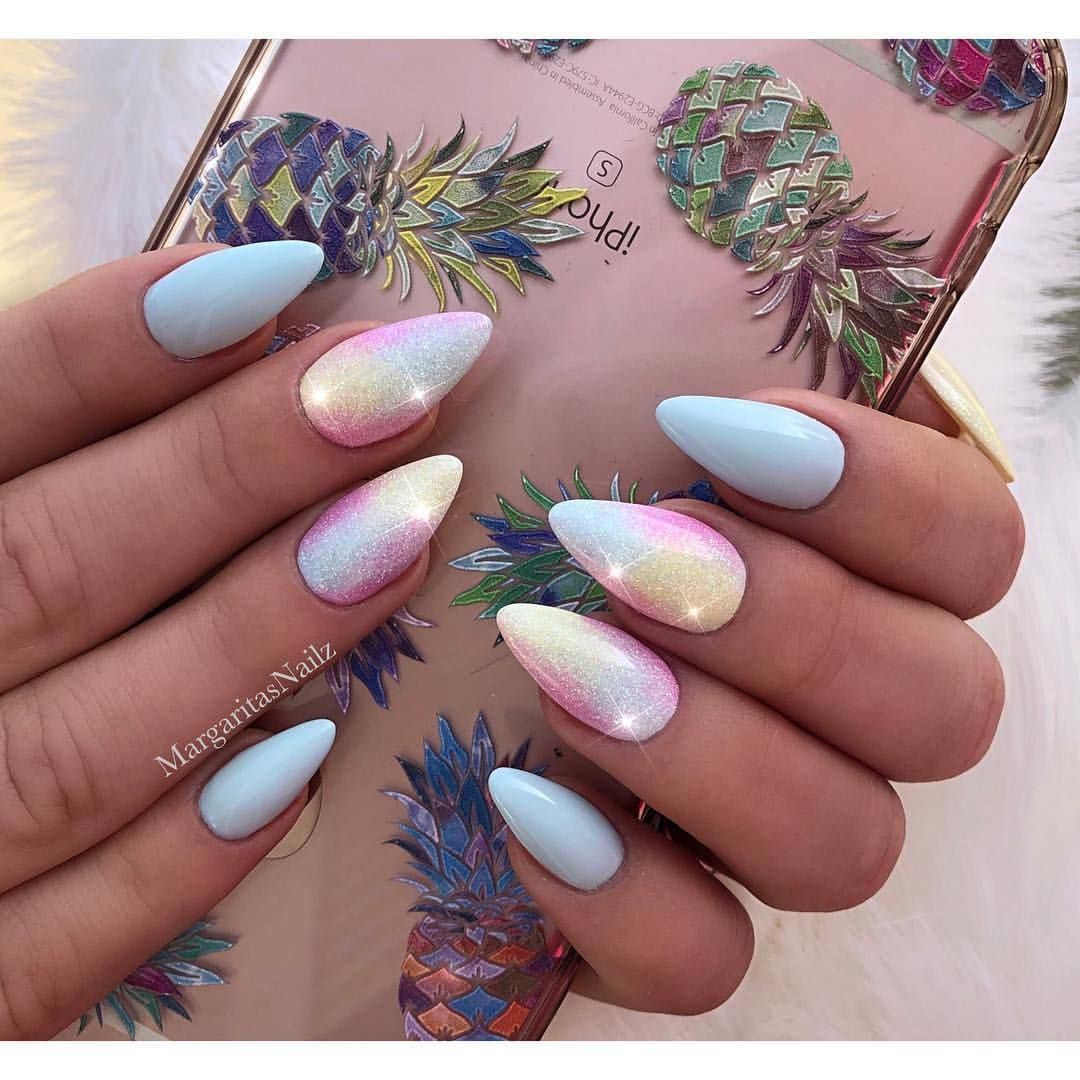 Unicorn Baby Blue Almond Nails Easter Nail Art Glitter Design Spring Summer Nails Nails Stiletton Nail Designs Spring Easter Nails Easter Nail Art Designs