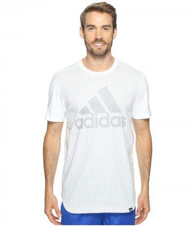 adidas - Pinstripe Adidas Tee (White/Light Onix) Men's Short Sleeve Pullover