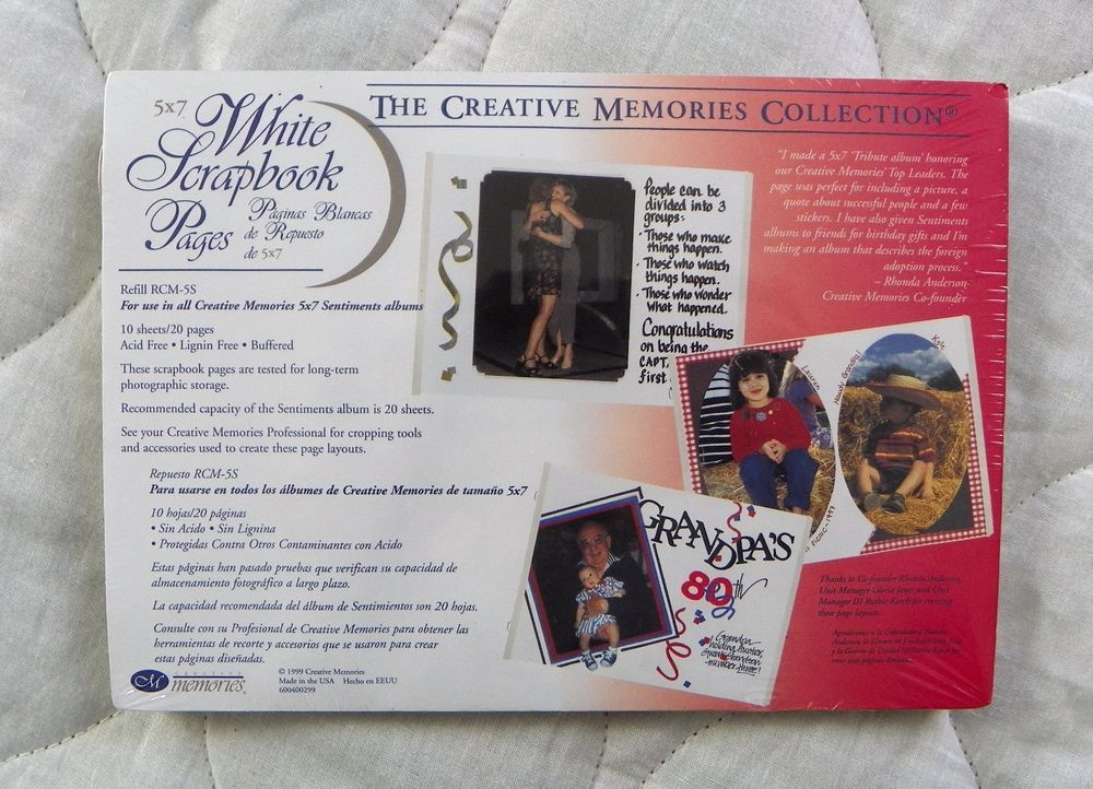 New Creative Memories 5x7 White Scrapbook Pages 10 Sheets 20