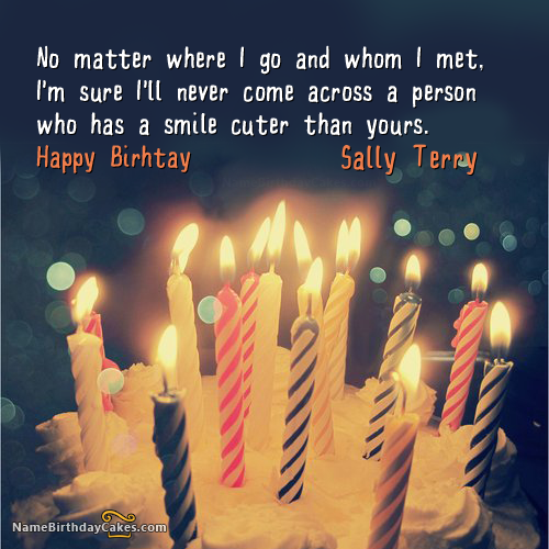 Sally Terry Name On Cakes And Wishes With Images Birthday