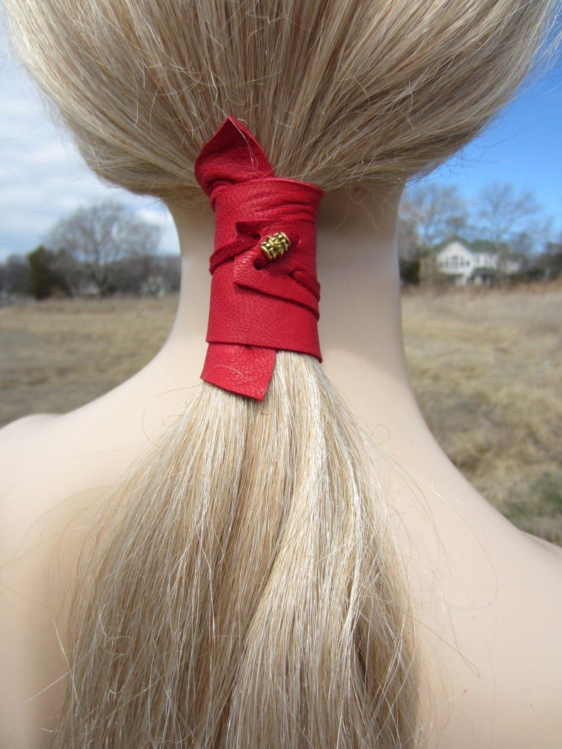 Ponytail Holder Beaded Hair Tie Red Leather Wrap Pony Tail Cuff Bohemian Hair Jewelry Z2010