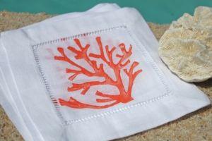 Isola Bella Coasters - Orange Coral on White Linen