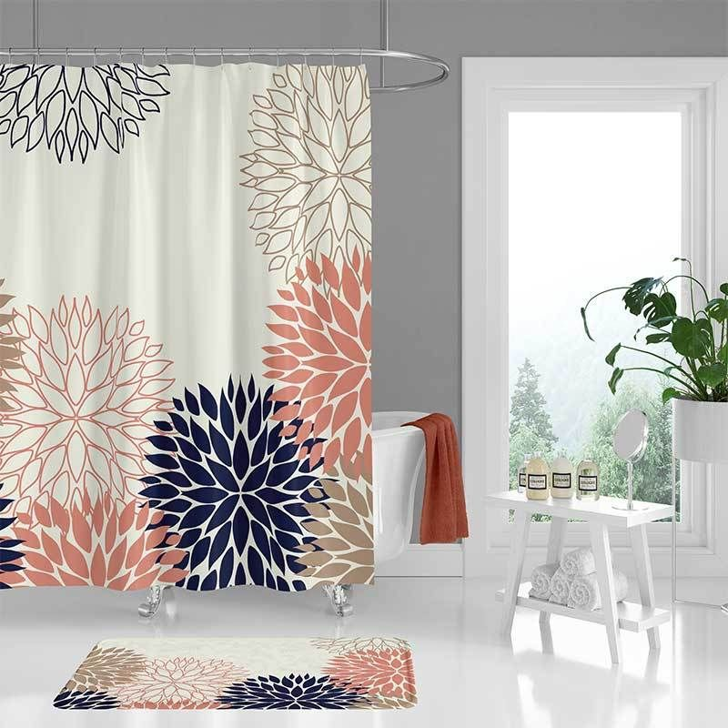 Chrysanthemum Shower Curtain Bath Mat Set In Blue And Pink