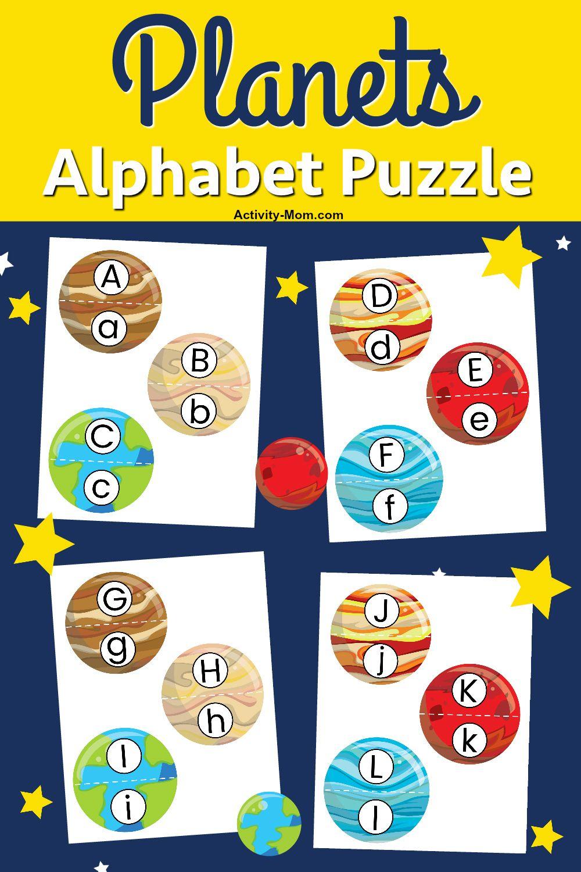 Free Printable Planets Alphabet Puzzle The Activity Mom Alphabet Puzzles Space Theme Preschool Printables Free Kids [ 1500 x 1000 Pixel ]