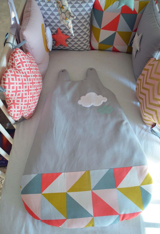 gigoteuse nuage 0 6 mois version hiver esprit scandinave gris menthe jaune corail gigoteuse. Black Bedroom Furniture Sets. Home Design Ideas