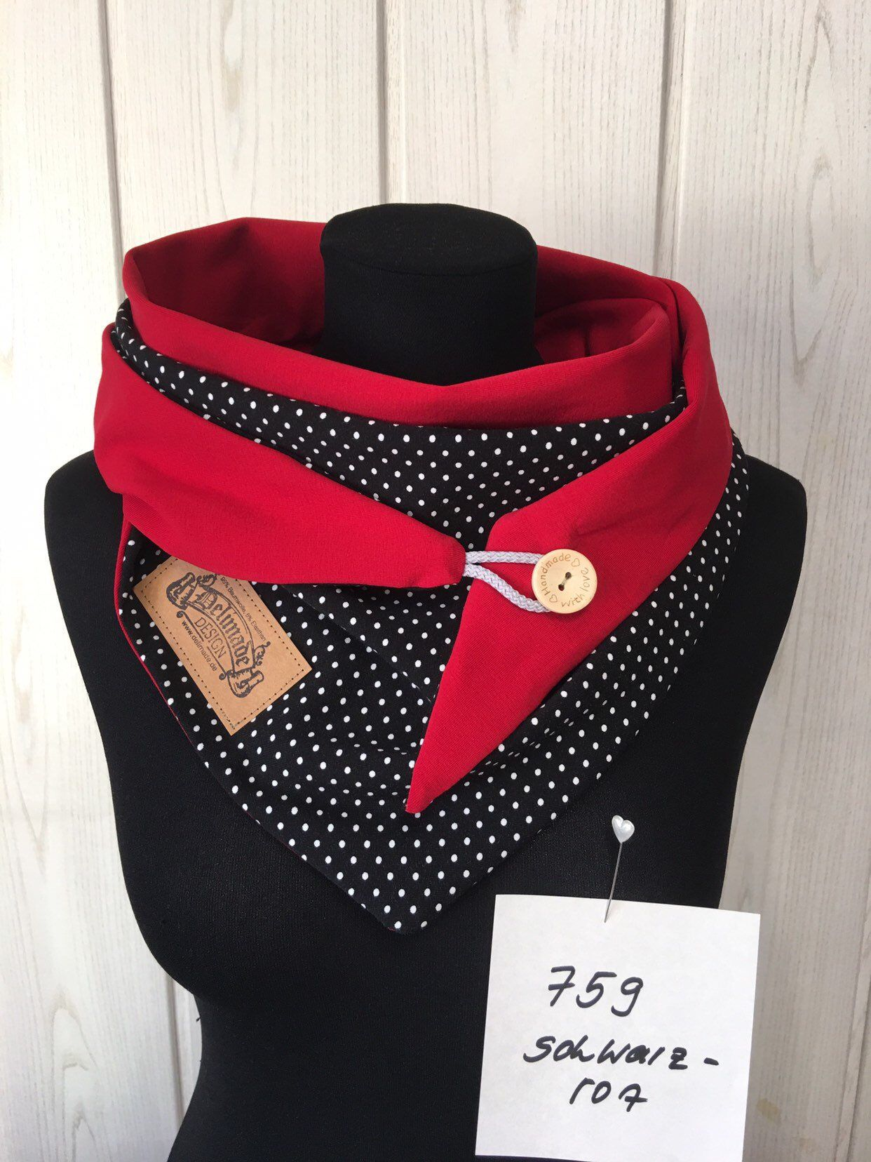 Wrap scarf dots black red cloth with white dots and button/delimade #chechetutocouture