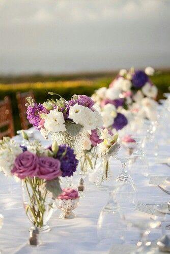 Lila Rosa Weiss Hochzeit Blumendeko