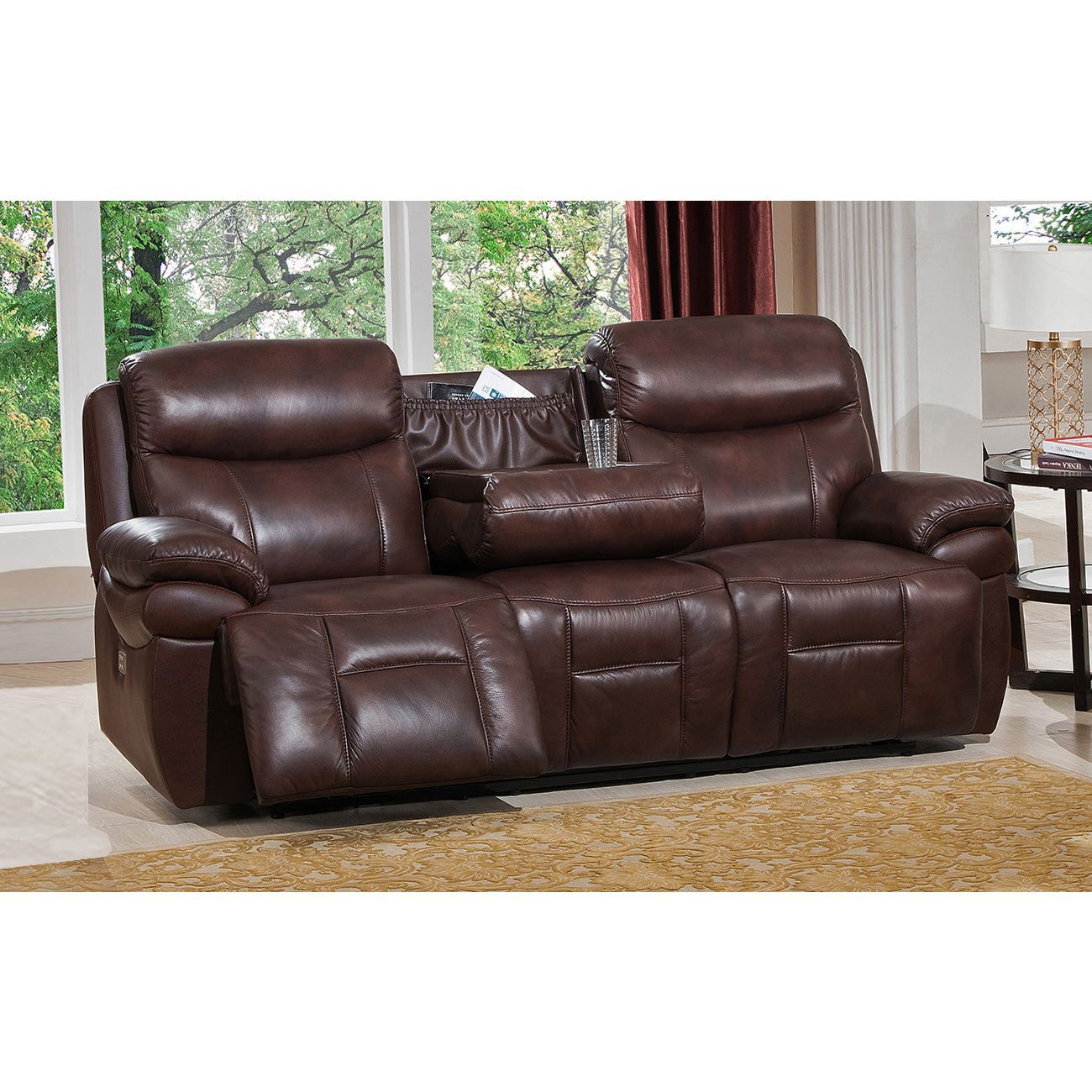 Amax Sanford Top Grain Leather Power Reclining Sofa With Power