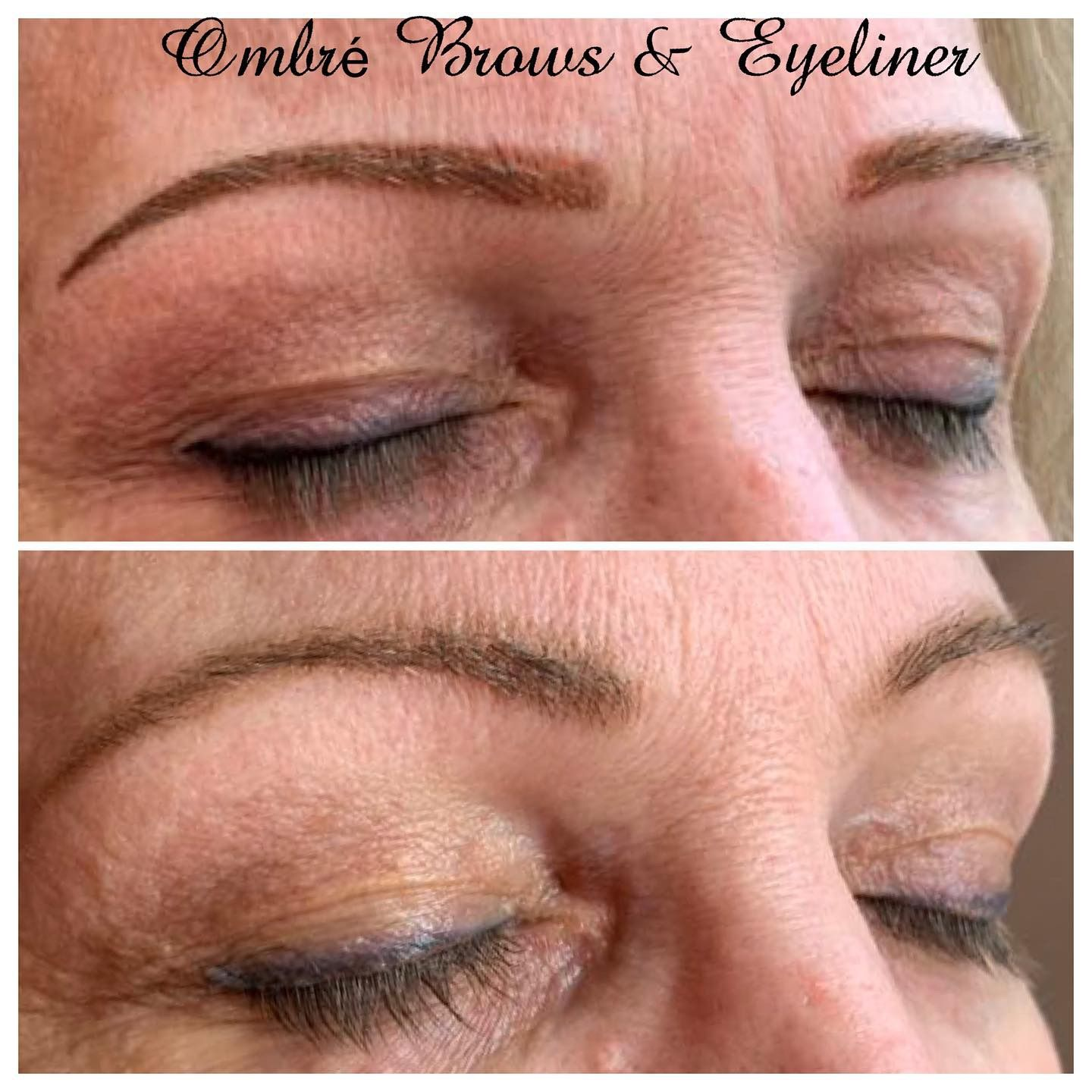 Beautiful ombré eyebrows and corrected eyeliner that is a