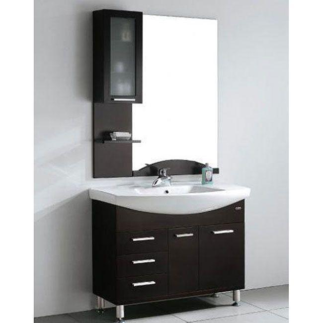 Bathroom Vanity Set. Design Element Serria Contemporary Bathroom Vanity w  Side Cabinet Set Grey chrome Size