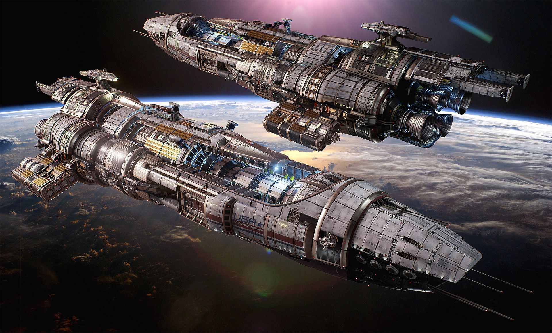 For ECG's Fractured Space - concept and all asset work by myself with help from ECG lead artist Alex Clarke on the design. Rendered in-game (Unreal Engine 4). http://fracturedspace.com The USR Black Widow is a stealth ship equipped with three different missile systems to provide long-range fire support and damage to allies. It has no short-range attack capabilities, so keeping your distance to your enemies is crucial, which is where its cloaking systems come in handy to escape sticky…